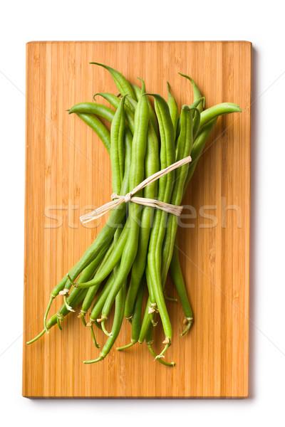 Stock fotó: Friss · zöldbab · vágódeszka · étel · csoport · fehér