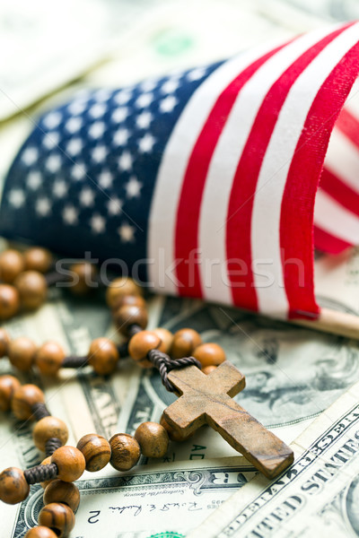 rosary beads with american flag Stock photo © jirkaejc