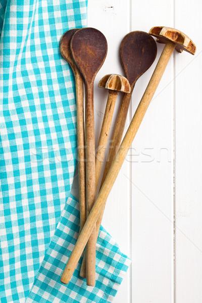 Ahşap mutfak gereçleri peçete üst görmek beyaz Stok fotoğraf © jirkaejc