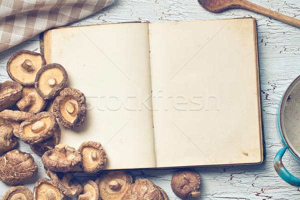 blank cookbook and shiitake Stock photo © jirkaejc