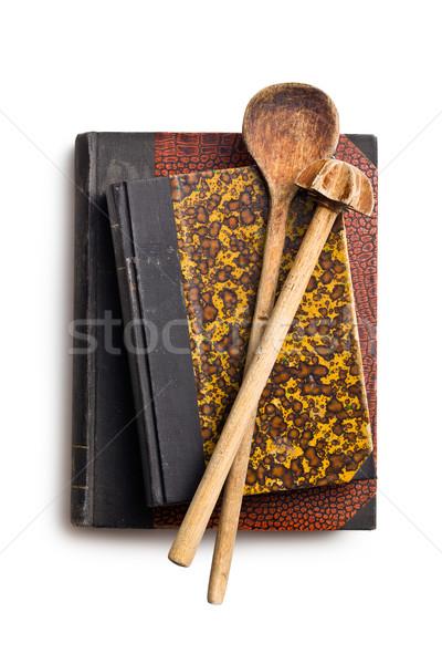 recipe books with wooden kitchenware Stock photo © jirkaejc