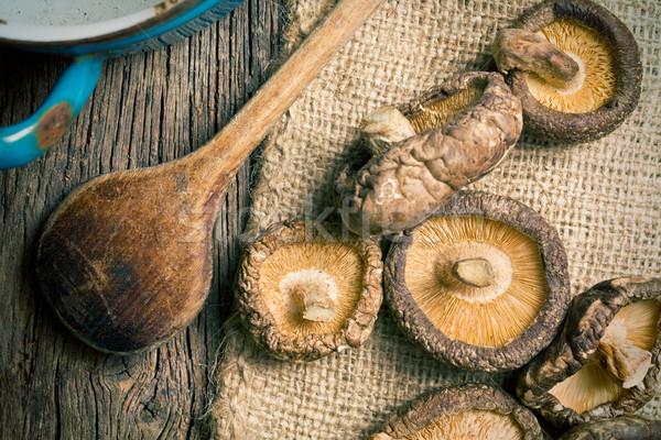 dried shiitake mushrooms on table Stock photo © jirkaejc