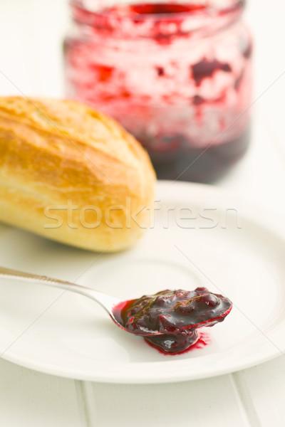 Fruit jam lepel voedsel glas Rood Stockfoto © jirkaejc