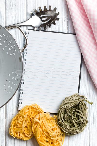 blank recipe book with pasta tagliatelle Stock photo © jirkaejc