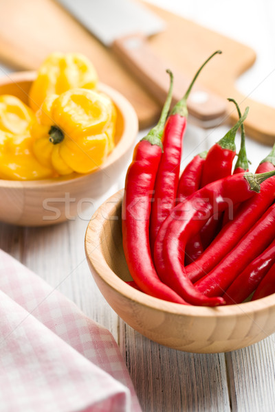 red peppers and habanero in bowls Stock photo © jirkaejc