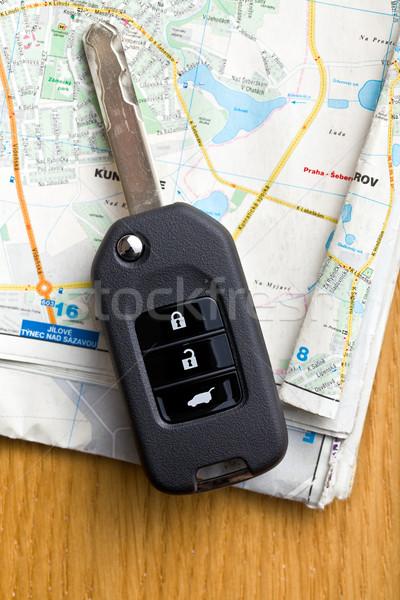 ключи от машины карта дороги улице безопасности путешествия Сток-фото © jirkaejc
