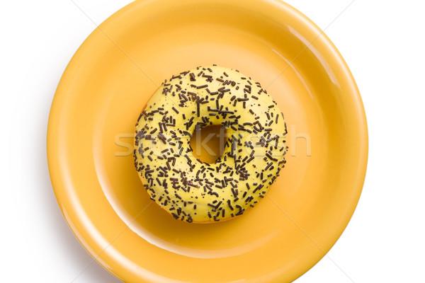 Doce rosquinha amarelo prato branco creme Foto stock © jirkaejc