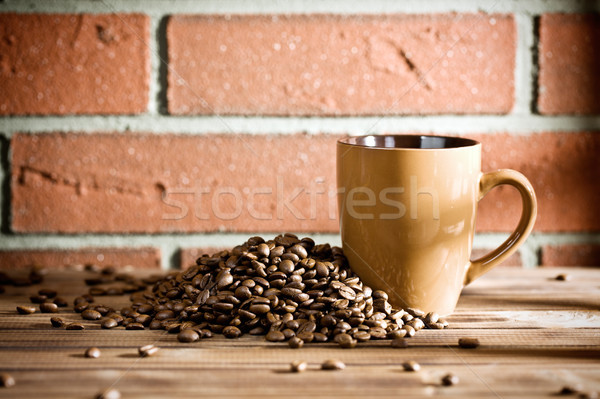 Koffiebonen tabel muur voedsel koffie muur Stockfoto © jirkaejc