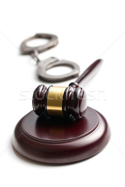 Giudice martelletto manette bianco sfondo catena Foto d'archivio © jirkaejc