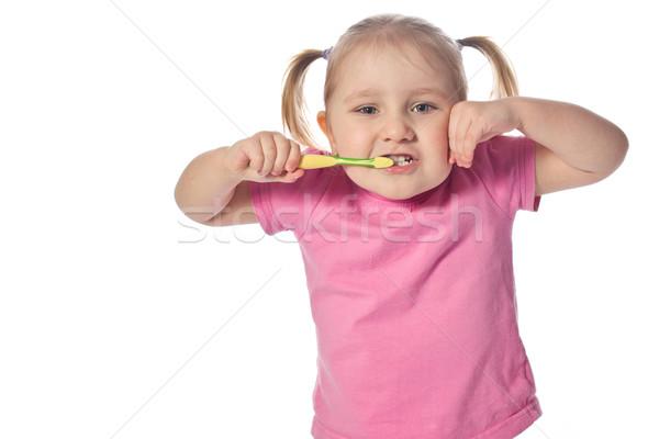 Stock foto: Kind · Pinsel · Zähne · wenig · Gesicht · glücklich