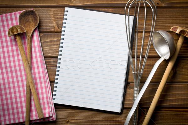 Recept könyv konyhai felszerelés felső kilátás fa asztal Stock fotó © jirkaejc