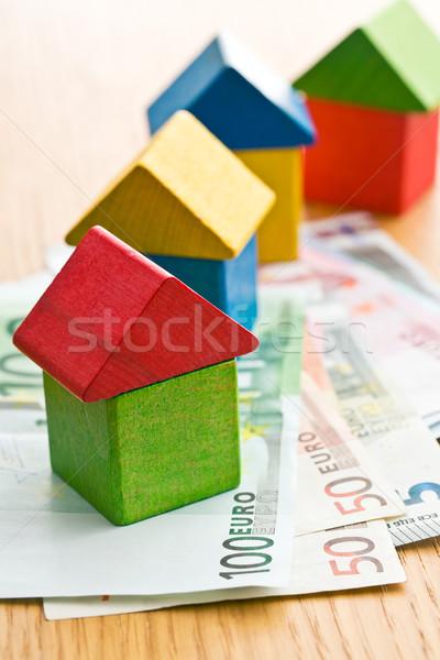 Ház fa játék kockák Euro pénz kék Stock fotó © jirkaejc