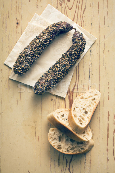 dried sausage with peppercorn and ciabatta Stock photo © jirkaejc