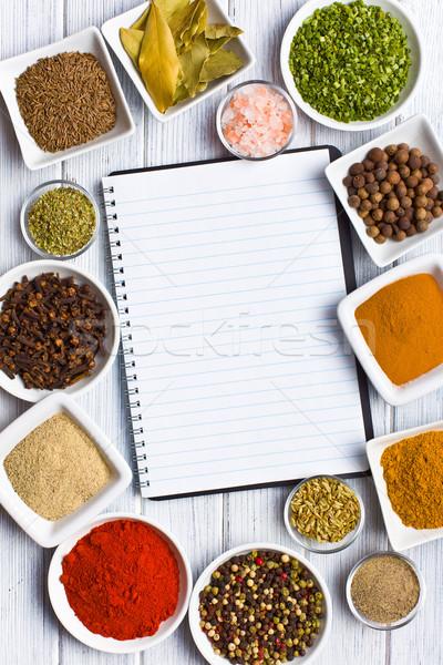 Libro de cocina especias hierbas alimentos libro Foto stock © jirkaejc