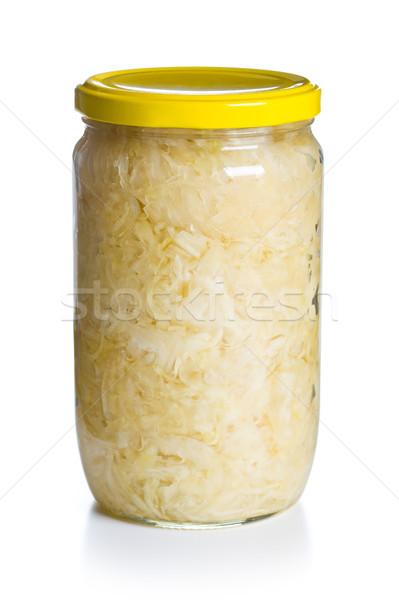 Zuurkool jar witte salade koken plantaardige Stockfoto © jirkaejc