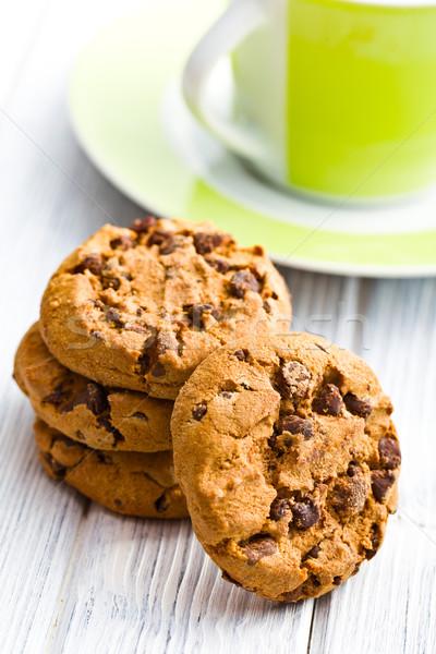 Chocolade cookies keukentafel achtergrond cake witte Stockfoto © jirkaejc