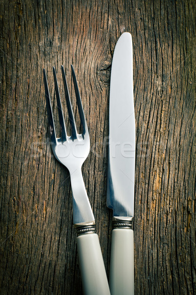 silver fork and knife Stock photo © jirkaejc