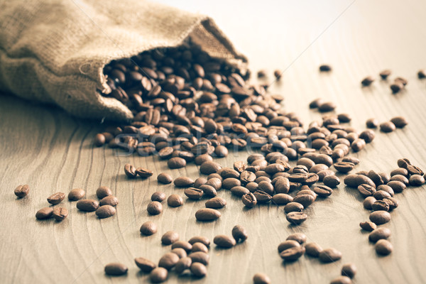 coffee beans spill out of the sack Stock photo © jirkaejc