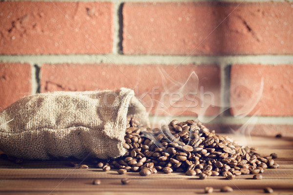 roasted coffee beans in burlap sack Stock photo © jirkaejc