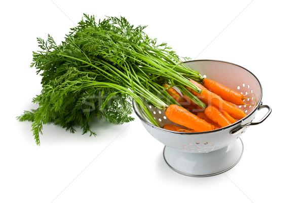 Carota foglia sfondo mangiare bianco agricoltura Foto d'archivio © jirkaejc