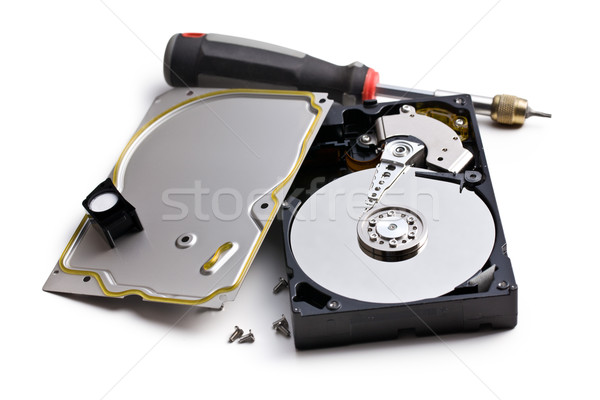 dismanteled hard disk and screwdriver Stock photo © jirkaejc