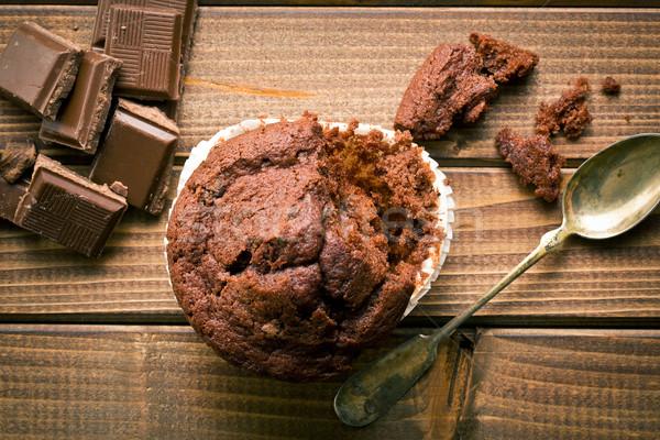 top view of chocolate muffin and chocolate Stock photo © jirkaejc