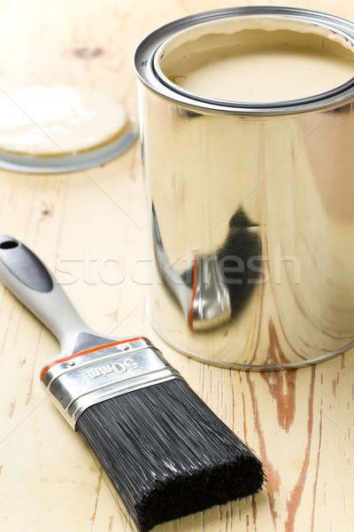 Pinsel tin kann Hand Arbeit Metall Stock foto © jirkaejc