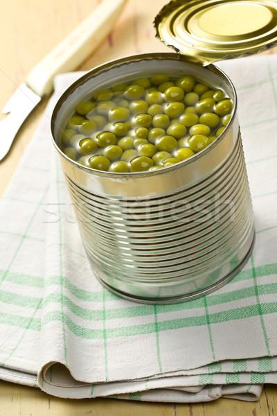 Stockfoto: Groene · erwten · Open · tin · kan