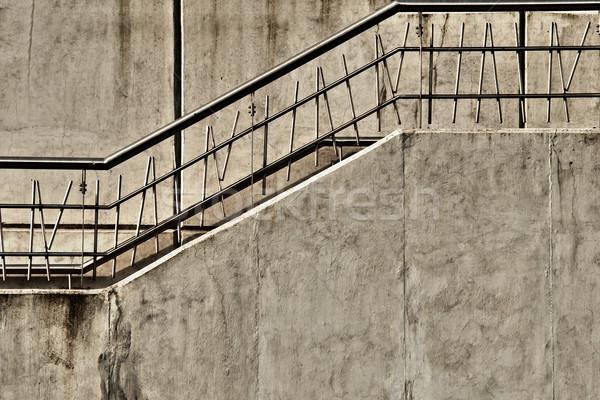 Szary konkretnych klatka schodowa metal tle Zdjęcia stock © jkraft5