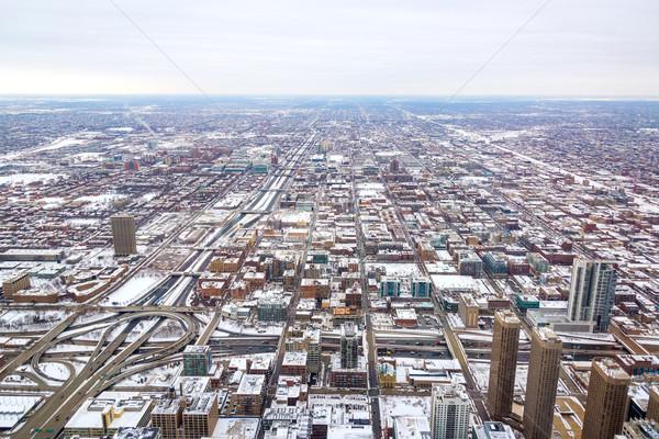 Chicago vue beaucoup bâtiment glace neige Photo stock © jkraft5