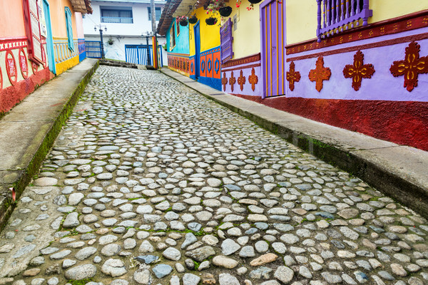 Colorful Cobblestone Street Stock photo © jkraft5