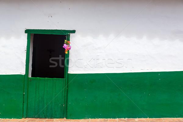 Green Door and White Wall Stock photo © jkraft5