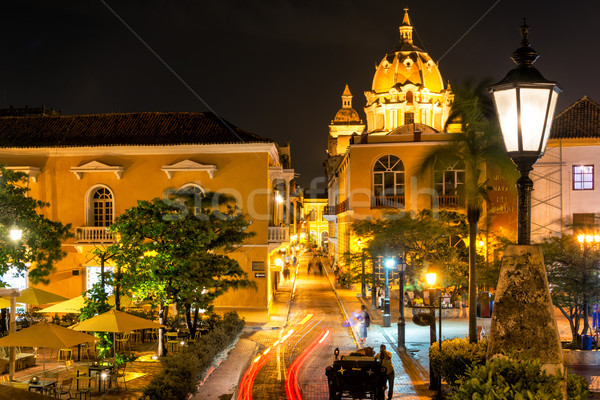 Cartagena Plaza at Night Stock photo © jkraft5