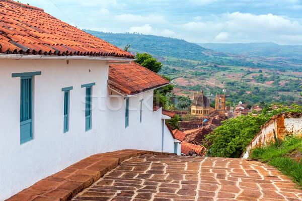 Sokak katedral görmek Kolombiya tepe üzerinde Stok fotoğraf © jkraft5