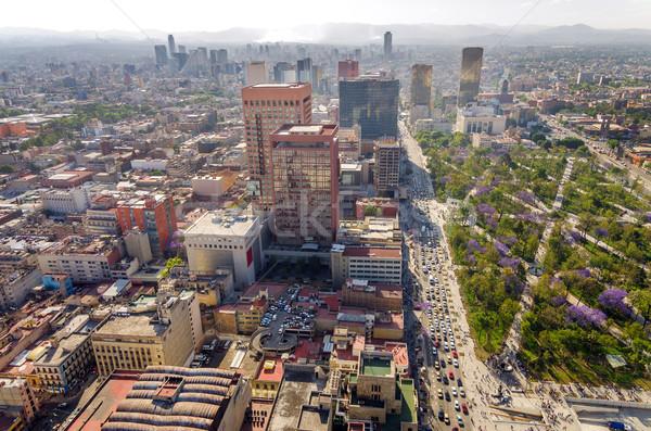 Mexikóváros városkép nagy park felhőkarcolók üzlet Stock fotó © jkraft5
