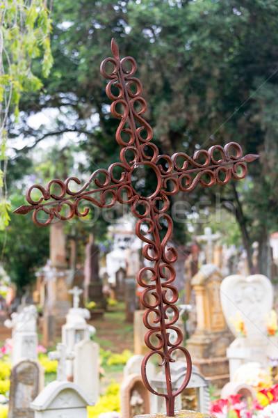 古い さびた クロス 墓地 緑 青 ストックフォト © jkraft5