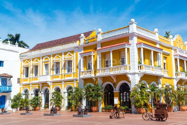 Yellow and White Colonial Building Stock photo © jkraft5