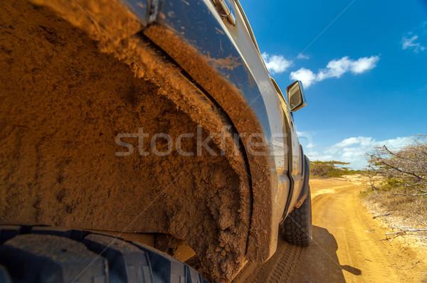 Sáros kerék kút suv koszos sivatag Stock fotó © jkraft5