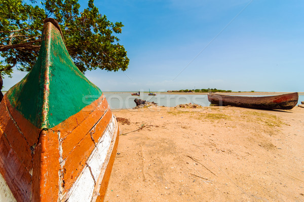 Seeufer Holz Natur Reise Boot Stock foto © jkraft5