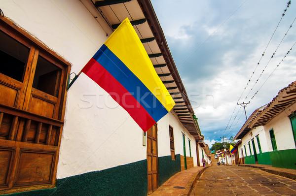 下向き コロニアル 通り コロンビア 旅行 フラグ ストックフォト © jkraft5
