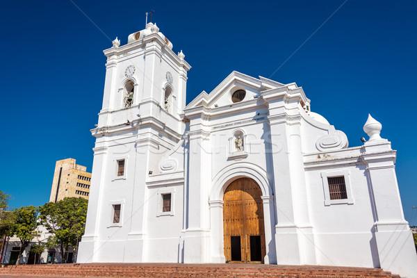 Catedral branco Colômbia belo profundo Foto stock © jkraft5