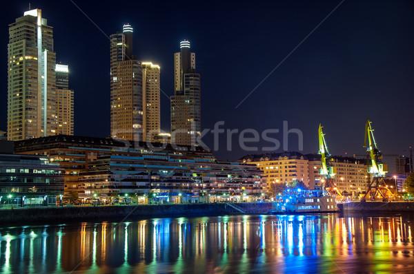 Vízpart Buenos Aires gyönyörű előkelő felhőkarcolók éjszaka Stock fotó © jkraft5