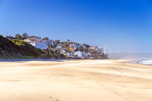Сток-фото: пляж · домах · Орегон · побережье · зданий · утес