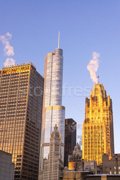 Chicago Skyscrapers at Sunrise Stock photo © jkraft5