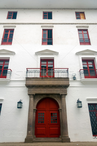 Red and White Colonial Building Stock photo © jkraft5