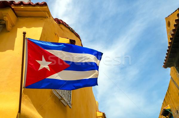 Bayrak sömürge binalar ayarlamak mavi gökyüzü Stok fotoğraf © jkraft5