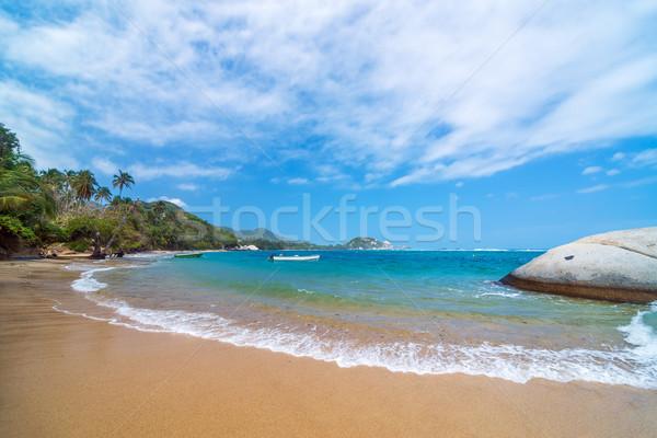 Caribbean strand Colombia tropische park bos Stockfoto © jkraft5