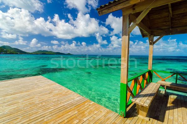 Stockfoto: Houten · dok · turkoois · water · caribbean · zee