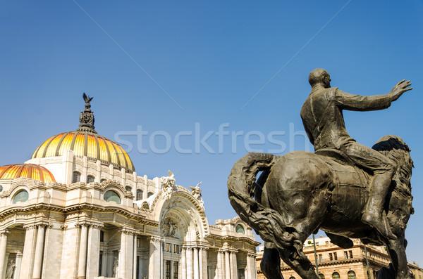 Artes palacio estatua Ciudad de México cielo ciudad Foto stock © jkraft5