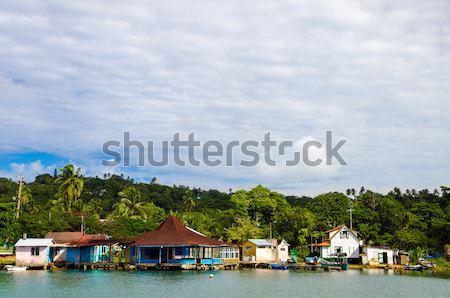 Starych budynków palm Karaibów wody niebo Zdjęcia stock © jkraft5